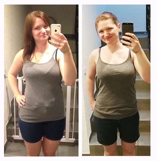 Wiegen Muskeln mehr als Fett? Beim Anblick dieses Vorher-Nachher-Bildes wird die Frage beantwortet. Die Frau auf dem Foto wiegt auf beiden Fotos 65. Ist aber auf dem Foto rechts um fast 2 Konfektionsgrößen schlanker.